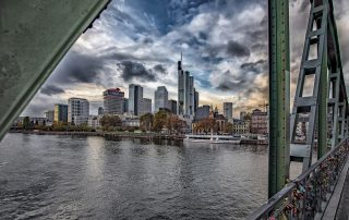 "Skyline Frankfurt at the bridge ""Eisernen Steg"""